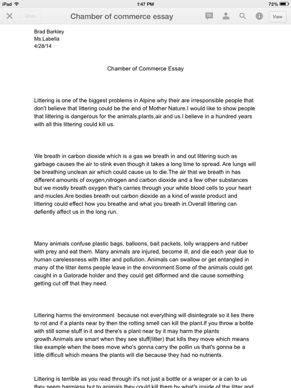 blog archives brads idream portfolio this is my chamber of commerce essay i did it on recycling i learned that it causes pollution it s interesting how one little can be harmful to animals why
